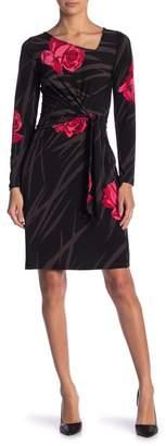 Leota Celeste Crepe Printed Waist Tie Dress