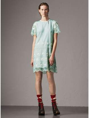 Burberry Short-sleeve Embroidered Tulle T-shirt Dress