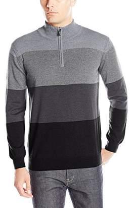 Bugatchi Men's Bold Stripe Long Sleeve 1/4 Zip Sweater