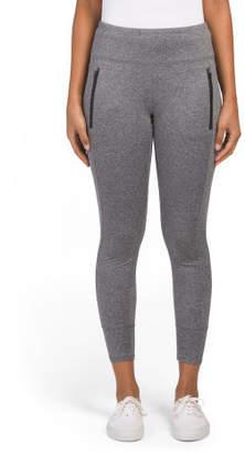 Brush Back Leggings With Zipper Pockets