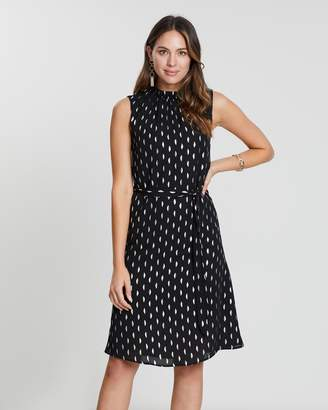 Dorothy Perkins Foil High-Neck Tie-Waist Dress