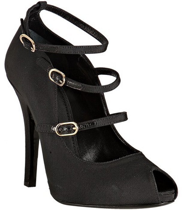 Dolce & Gabbana black grosgrain strappy peep toe pumps