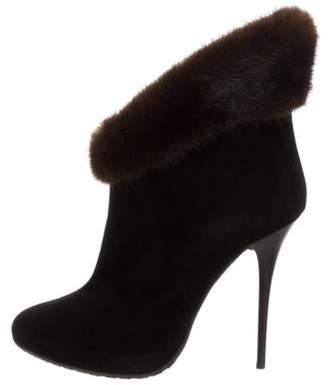 Giuseppe Zanotti Mink-Trimmed Suede Ankle Boots Black Mink-Trimmed Suede Ankle Boots