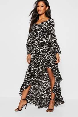 boohoo Sweetheart Cheetah Print Dipped Hem Maxi Dress
