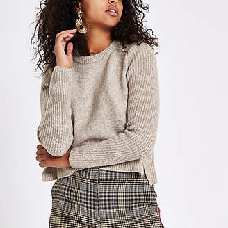 River Island Light brown cropped crew neck sweater
