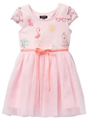 Zunie Short Sleeve Lace Knit Tulle Dress (Little Girls)