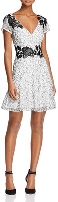 Aidan Mattox Short-Sleeve Embroidered Lace Dress $275 thestylecure.com