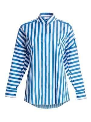 Akris Punto Buttoned Shoulder Stripe Blouse