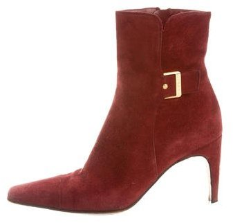Chanel Suede Buckle-Embellished Ankle Boots