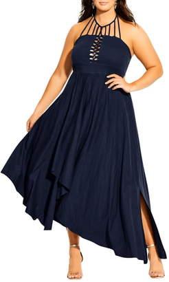 City Chic Strappy Asymmetrical Faux Wrap Halter Maxi Dress