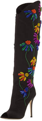 Giuseppe Zanotti Floral-Embroidered Peep-Toe Satin Boot