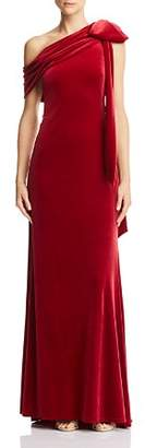 Tadashi Shoji One-Shoulder Velvet Gown