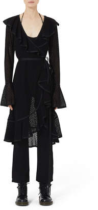 Marc Jacobs Spotted-Lace Ruffle Wrap Dress