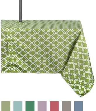 "Dii Design Imports Casual Rectangle Lattice Umbrella Outdoor Tablecloth, 120"" x 60"", 100% Polyester, Green"