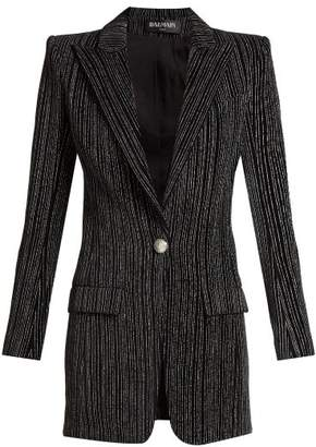 Balmain Striped Single Breasted Velvet Blazer - Womens - Black Silver