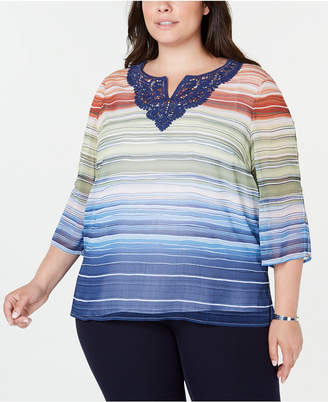 Alfred Dunner Plus Size Lake Tahoe Lace Striped Blouse