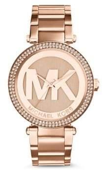 Michael Kors Rose Goldtone Parker Glitz Watch