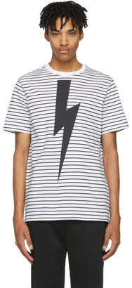 Neil Barrett White and Black Striped Lightning Bolt T-Shirt