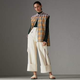 Burberry Contrast Check Sleeveless Shirt