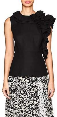 Co Women's Ruffled Wool-Blend Twill Top - Black