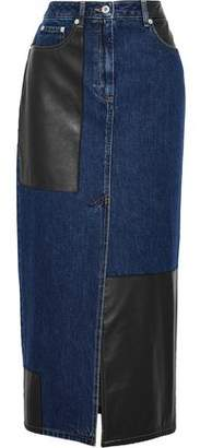 McQ Faux Leather-Paneled Denim Midi Skirt