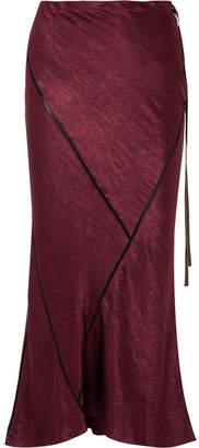 Ann Demeulemeester Crepe-trimmed Crinkled-satin Midi Skirt - Burgundy