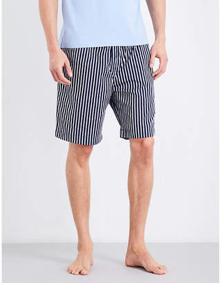 Derek Rose Mens Navy/Red Naturally Stripe Cotton House Shorts