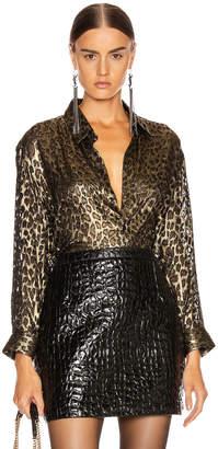 Saint Laurent Leopard Long Sleeve Blouse in Black & Gold | FWRD