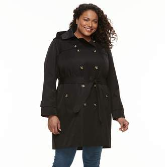 83840edc9c9c0 London Fog Tower By Plus Size TOWER By Hooded Trench Coat