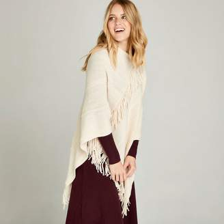 Apricot Cream Fringed And Cable Stitch Poncho