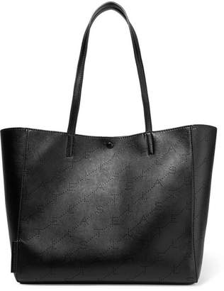 Stella McCartney Small Perforated Faux Leather Tote - Black