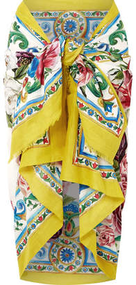 Dolce & Gabbana Printed Cotton Pareo - Yellow