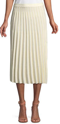 Derek Lam 10 Crosby A-Line Pleated Striped Knit Midi Skirt