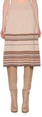 Agnona Multi-Stripe Metallic Cashmere Knit Knee-Length A-Line Skirt