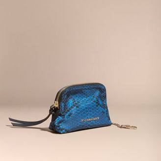 Burberry Zip-top Python-print Technical Nylon Pouch $250 thestylecure.com