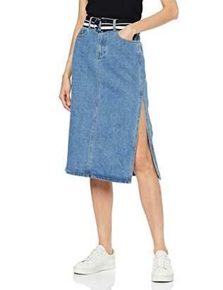 Lost Ink Women's Denim MIDI Side Splits Skirt with Belt, Blue (Light 0024), (Size:/S)