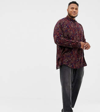 Asos Design DESIGN Plus oversized paisley viscose shirt with dropshoulder in longline