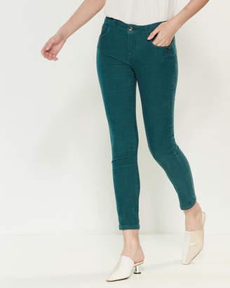 Les Copains Green Skinny Fit Corduroy Pants
