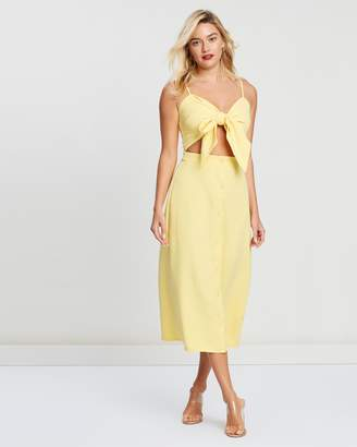 Missguided Tie Front Button Down Strappy Midi Dress