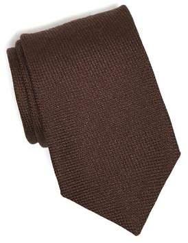 Drakes Drake's Wool/Silk Solid Tie in Brown