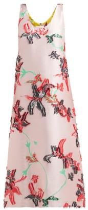 La DoubleJ Easy Peasy Orchidea Fil Coupe Twill Midi Dress - Womens - Pink Print