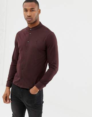 afda8abdd859 Religion skinny fit jersey shirt with grandad collar in merlot