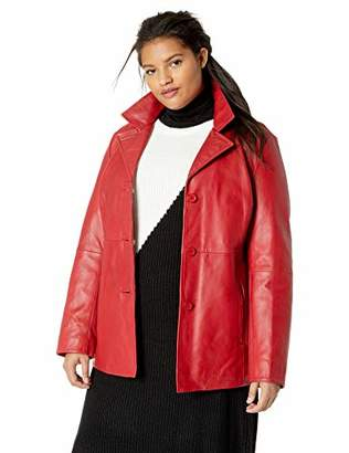 Excelled Women's Plus Size Leather Button Front Hipster