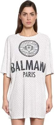 Balmain Oversize Logo Polka Dot Jersey T-Shirt