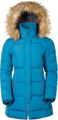 Warehouse Mountain Isla Women's Down Jacket - Detachable Hood, Elasticised Inner Rib Cuffs with Storm Flap with 2 Zipped Front Pockets & 1 Mobile/Mp3 Pocket
