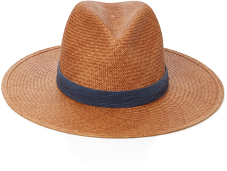 Leather-Trimmed Straw Panama Hat