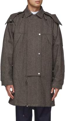 E. Tautz Detachable hood oversized wool herringbone parka