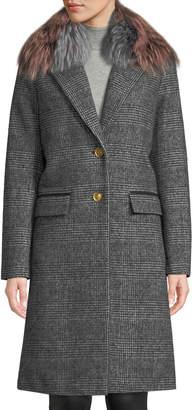 Mackage Henrita Wool Coat in Plaid w/ Removable Fur