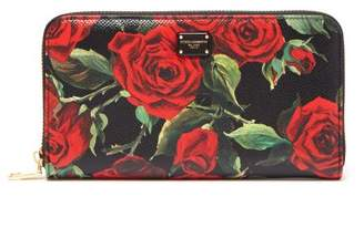 Dolce & Gabbana Rose Print Leather Continental Wallet - Womens - Black Red