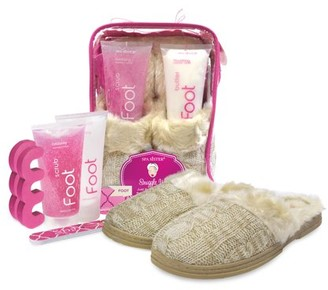 Spa Sister Snuggle Up Foot Spa Cable Knit Slippers, Raspberry Oatmeal